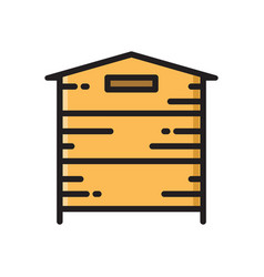 wooden beehive bee hive thin line flat style icon vector image