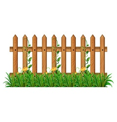 Wooden fence with vine vector