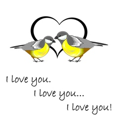 A couple of cute titmice with a heart vector image