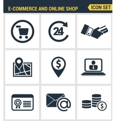 Icons set premium quality of e-commerce shopping vector image