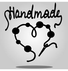 sew needle with beads on thread vector image