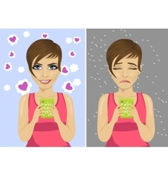 young woman with expressions using her smartphone vector image vector image