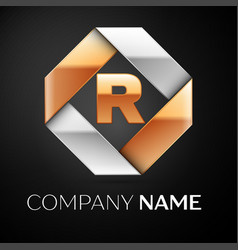 letter r logo symbol in the colorful rhombus on vector image vector image