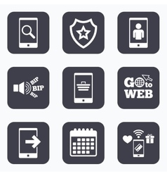 Phone icons Video call online shopping vector image vector image