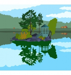 beautiful island in a lake vector image vector image