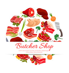 butcher shop meat products poster for food design vector image vector image
