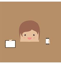 cartoon doodle man rectangle hand phone of busines vector image