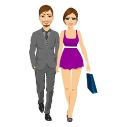 happy blonde woman with her boyfriend vector image vector image