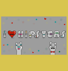 I love hipsters vintage card vector