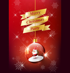 merry christmas with santa claus in christmas ball vector image vector image