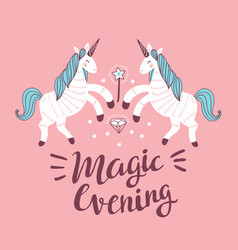 poster with unicorns on the pink background vector image