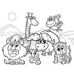 wild animals cartoon coloring page vector image