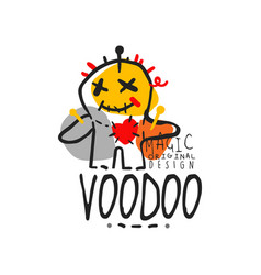 Adorable voodoo doll with needles for mystical vector