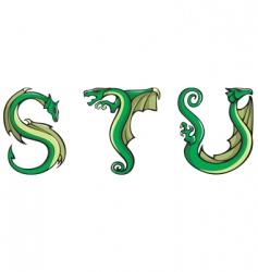 dragons alphabet STU vector image vector image
