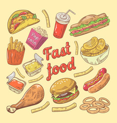 fast food hand drawn doodle with burger and fries vector image