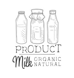 natural fresh milk product promo sign in sketch vector image vector image