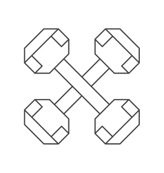 outline dumbbell weight fitness gym icon vector image