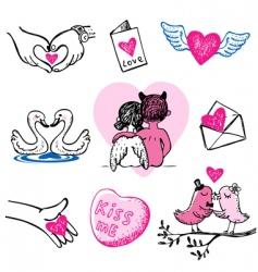 set of nine valentine icons vector image