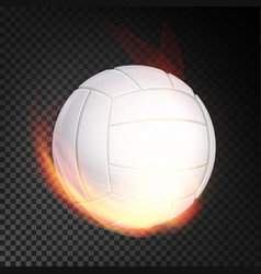 volleyball ball in fire realistic burning vector image