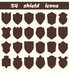 24 shield icons Set of different shield shapes vector