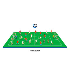 3d isometric football field with football teams vector