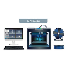 3d printing set vector image