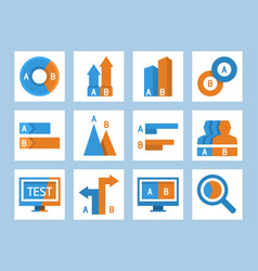 ab split testing and comparison icon set vector image