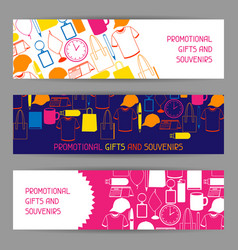Advertising banners with promotional gifts vector
