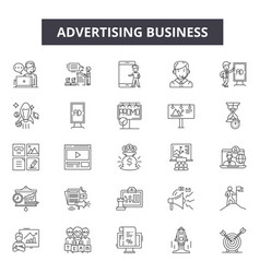 advertising business line icons editable stroke vector image
