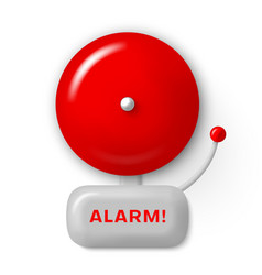 Alarm bell red realistic icon fire safety signal vector