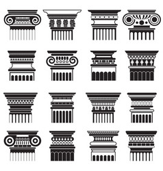 Ancient greek roma column capitals vector