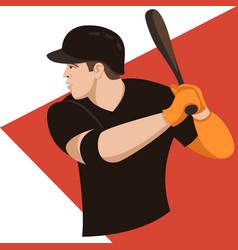 Baseball player flat style vector