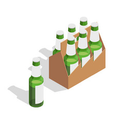beer pack isometric composition vector image