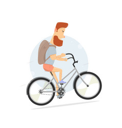 bicycle bearded guy character hipster style vector image