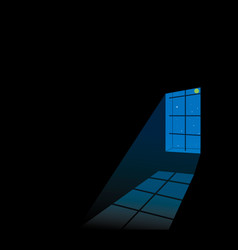 black room with grating window and reflection on vector image