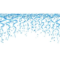 Blue confetti and ribbons vector