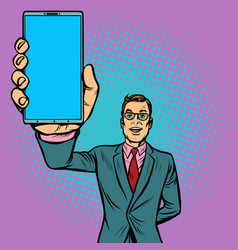businessman shows a smartphone vector image