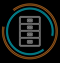 cabinet archive icon - file drawer vector image