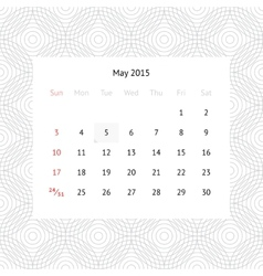 Calendar page for May 2015 vector image