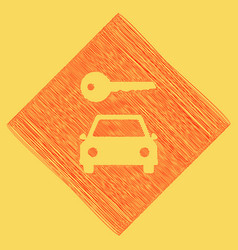 Car key simplistic sign red scribble icon vector