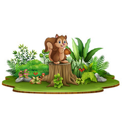 Cartoon happy squirrel holding pine cone and stand vector