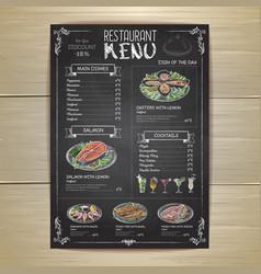 Chalk drawing restaurant menu design vector