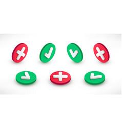 Checkmark isometric icons set vector