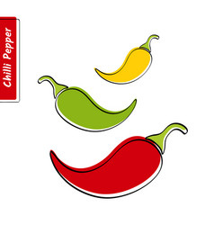 Chilli pepper education card with black contour vector