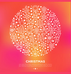 christmas concept in circle with thin line icons vector image