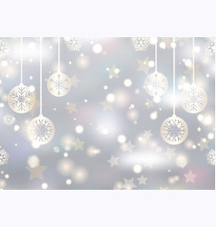 christmas decorations on a bokeh lights background vector image