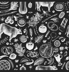 christmas dinner seamless pattern hand vector image