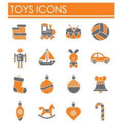 Christmas toys icons set on background for graphic vector