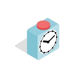 Clock with red button icon isometric 3d style vector image