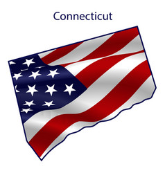 connecticut full american flag waving vector image